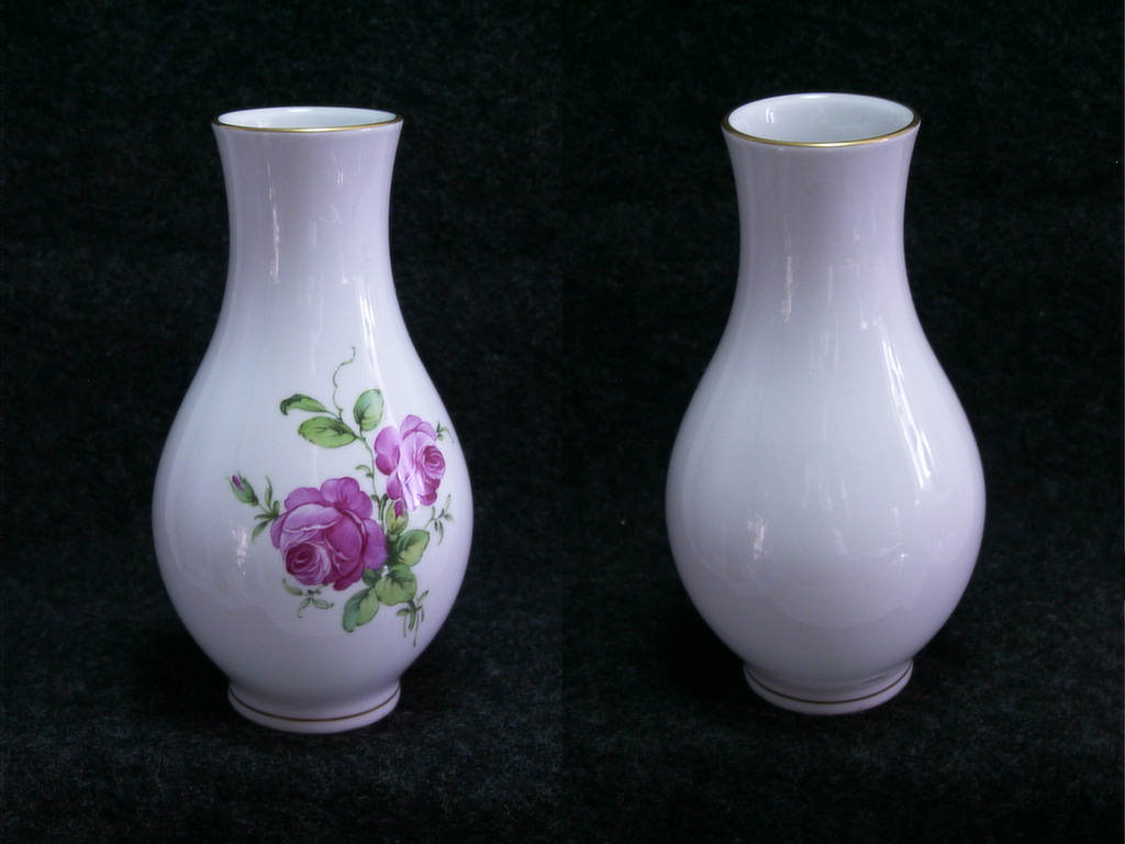 RK014 Chinesische 35cm Porzellan Vase Kürbisvase handbemalt Blumendekor